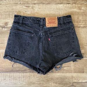 Vintage Orange Tag Black Distressed Levi Shorts 29